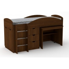 Двухъярусная кровать с выкатным столом Компанит Универсал орех экко