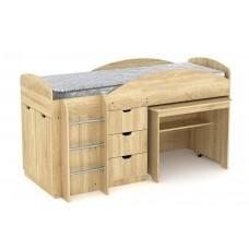 Двухъярусная кровать с выкатным столом Компанит Универсал дуб сонома