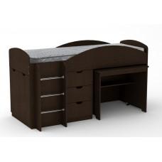 Двухъярусная кровать с выкатным столом Компанит Универсал венге