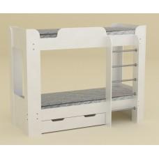 Двухъярусная кровать с ящиком Компанит Твикс-2 альба (белый)