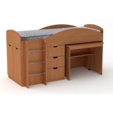 Двухъярусная кровать с выкатным столом Компанит Универсал ольха